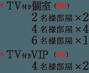 宴会場x1 TV 付き(無料)VIP2名様部屋×1 TV 付き(有料)VIP6名様部屋×1